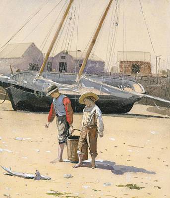American Artist Painting - A Basket Of Clams by Winslow Homer