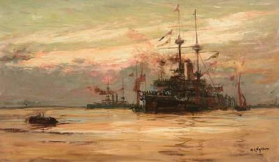 A Battleship Loading Ammunition Print by William Lionel