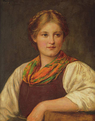 Youthful Painting - A Bavarian Peasant Girl by Franz von Defregger