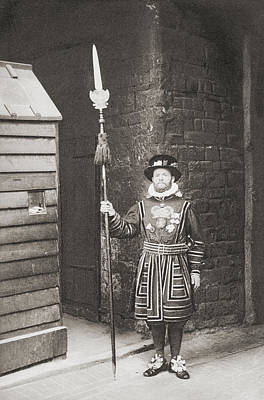 Jewels Drawing - A Beefeater, Guardian Of The Tower Of by Vintage Design Pics