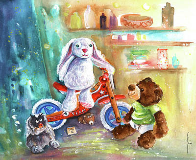 Toy Shop Drawing - A Bike For Cousin Marlon Blanco by Miki De Goodaboom