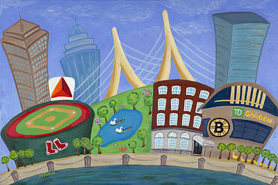 Boston Red Sox Painting - A Bit O' Boston by Melissa Fassel Dunn