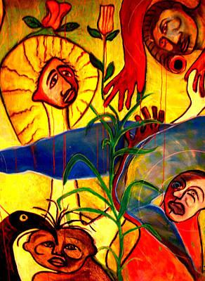 Weusi Art Mixed Media - A Bleeding Rose by Robert Daniels