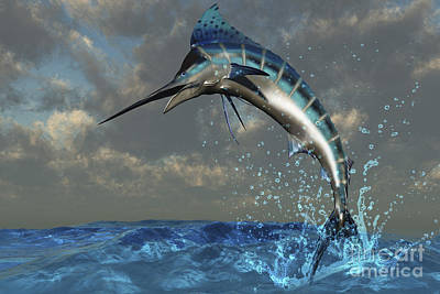 Animal Behavior Digital Art - A Blue Marlin Flashes Its Iridescent by Corey Ford