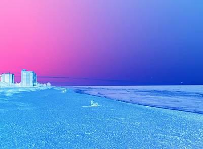 Abstract Beach Landscape Digital Art - A Blue View by Florene Welebny