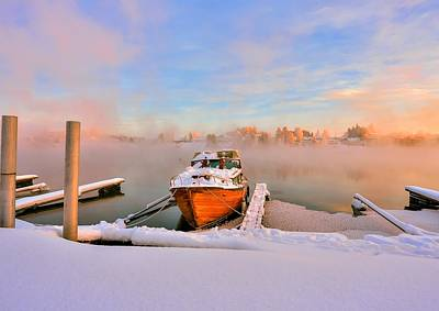 Photograph -  Boat On Frozen Lake by Rose-Maries Pictures