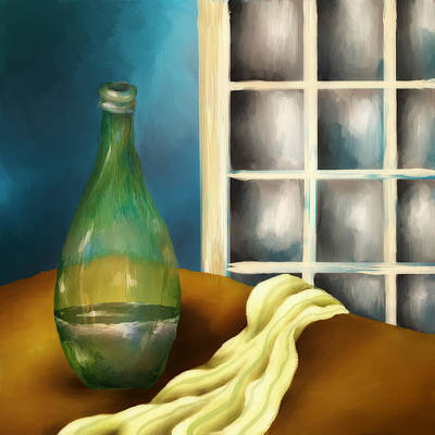 A Bottle And A Towel Print by Brenda Bryant