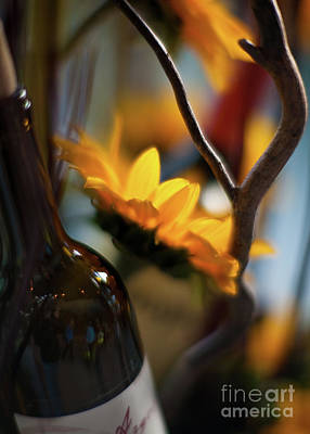 Abstract Photograph - A Bottle And Sunflowers by Mike Reid