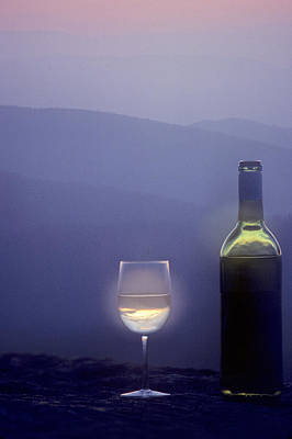 A Bottle Of Wine And Glass Print by Kenneth Garrett