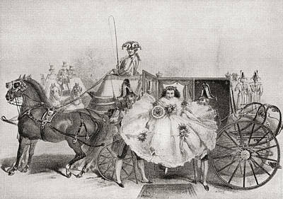 Wedding Dress Drawing - A Bride Arriving At Her Wedding by Vintage Design Pics