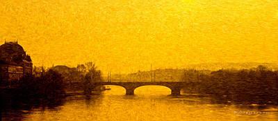 Prague Digital Art - A Bridge In Praha by Robert Meyerson