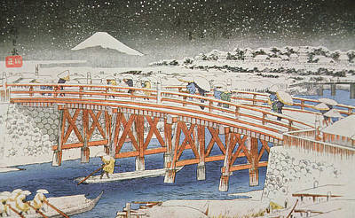 Snowy Night Painting - A Bridge In Yedo With Mount Fuji In The Background by Hiroshige