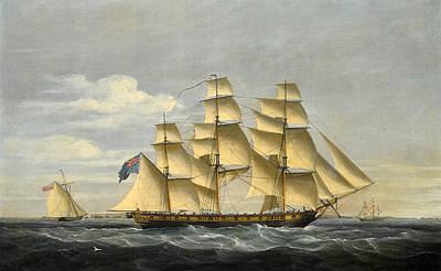 Painting - A British Frigate And An Armed Cutter Patrolling Off The French Coast Circa 1804 by Thomas Whitcombe