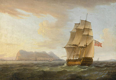 Painting - A British Man Of War Before The Rock Of Gibraltar by Thomas Whitcombe
