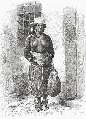 Gypsy Drawing - A Bulgarian Gypsy Woman In The 19th by Vintage Design Pics