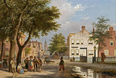 Painting - A Busy Square In A Dutch Town by Giuseppe Canella