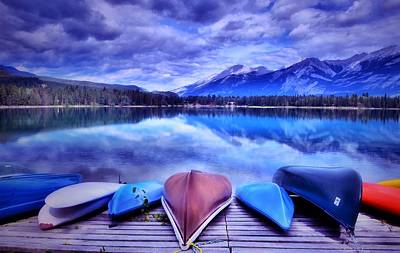 Canoe Digital Art - A Calm Afternoon At Lake Edith by Tara Turner