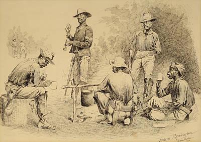 A Campfire Sketch Print by Frederic Remington