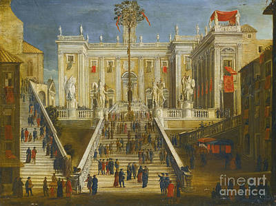 A Capriccio View Of The Campidoglio With Numerous Figures Conversing On The Steps Print by MotionAge Designs