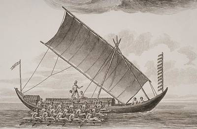 Row Boat Drawing - A Caracore From Borneo. From A Print by Vintage Design Pics