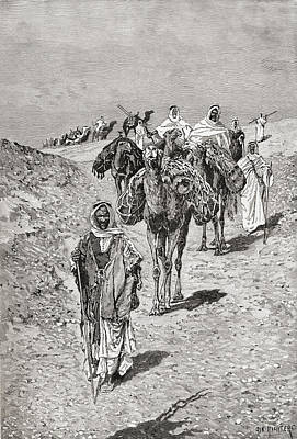 Camel Drawing - A Caravan, Africa In The Late 19th by Vintage Design Pics
