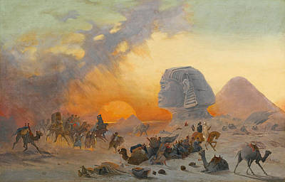 Ippolito Caffi Painting - A Caravan Fleeing From A Desert Simoom Near The Sphinx by Ippolito Caffi