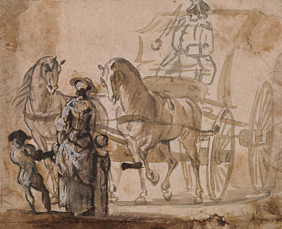 18th Century Painting - A Carriage And Pair, With Coachman by Paul Sandby