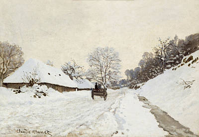 A Cart On The Snowy Road At Honfleur Print by Claude Monet