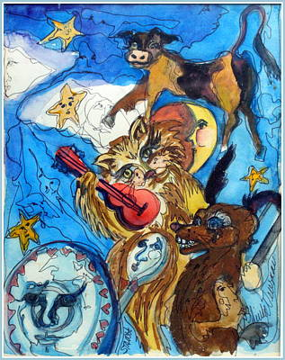 A Cat And A Fiddle Print by Mindy Newman
