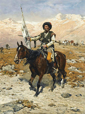 Polish Painters Painting - A Caucasian Chief by Alfred Kowalski