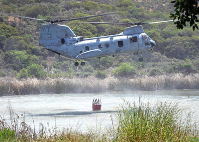 Usaf Painting - A Ch-46e Sea Knight Helicopter Us Navy by Celestial Images