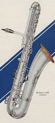 Saxophone Drawing - A Charles Gerard Conn Bb Bass by American School