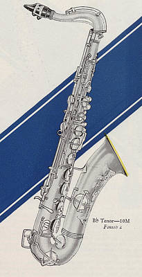 Saxophone Drawing - A Charles Gerard Conn Bb Tenor by American School