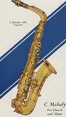 Saxophone Drawing - A Charles Gerard Conn C Melody by American School