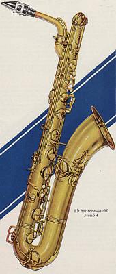 Saxophone Drawing - A Charles Gerard Conn Eb Baritone  by American School