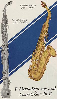 Saxophone Drawing - A Charles Gerard Conn F Mezzo-soprano by American School