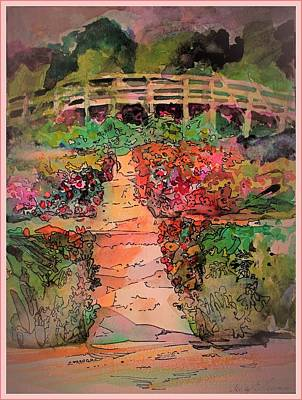 Peach Drawing - A Charming Path by Mindy Newman