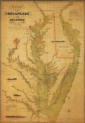 Old Town Digital Art - A Chart Chesapeake And Delaware by Randy Vreeke