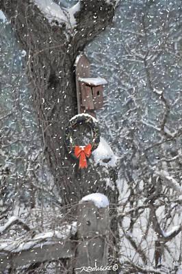 A Christmas Bird House Print by Richard De Wolfe