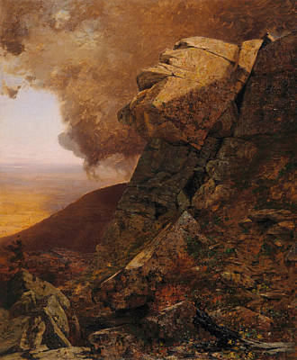 A Cliff In The Katskills Print by Jervis McEntee