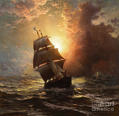 Sunrise Painting - A Clipper At Sunset by MotionAge Designs