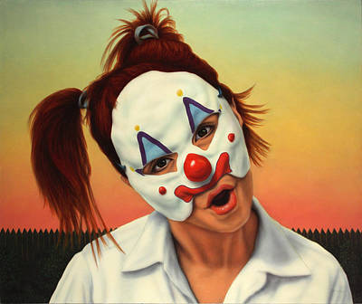 Clowns Painting - A Clown In My Backyard by James W Johnson