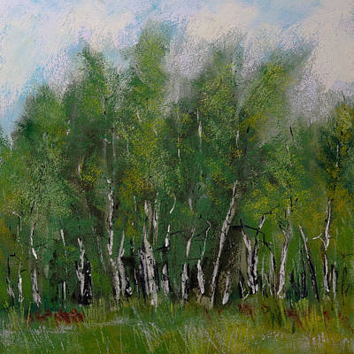 Impressionism Painting - A Cluster Of Birch by David Patterson