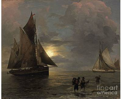Landscape Painting - A Coastal Landscape With Sailing Ships By Moonlight by Celestial Images