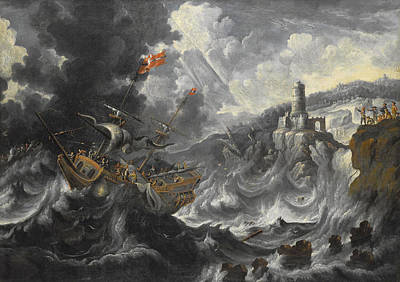 A Coastal Landscape With Shipping Caught In Tempestuous Seas Print by Cornelis Mahu