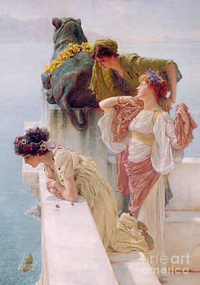 Marbled Painting - A Coign Of Vantage by Sir Lawrence Alma-Tadema