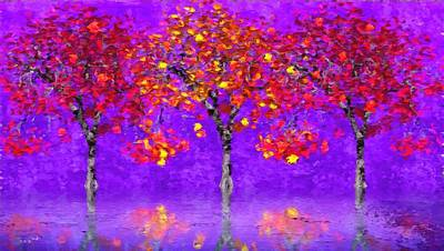 Royalty Free Images Painting - A Colorful Autumn Rainy Day by Gabriella Weninger - David