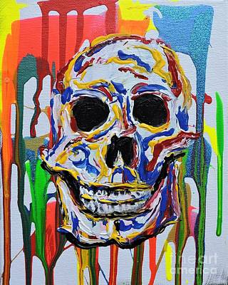 A Colorful Happy Skull Original by Pedro Flores