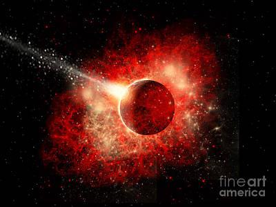 Collision Of Worlds Digital Art - A Comet Hitting An Alien World by Mark Stevenson