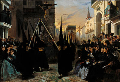 Inquisition Painting - A Confraternity In Procession Along Calle Geneva  by Alfred Dehodencq